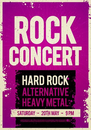 Vector illustration grunge rock festival design template with place for text.