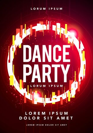 Vector illustration dance party poster. Futuristic flyer template with glitch effect