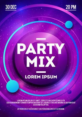 Vector Illustration Dance Party Night, DJ Battle Design Template