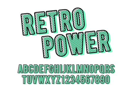 Vector illustration of modern colorful retro font and alphabet, dot filled typeface.