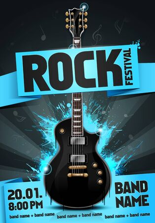 Vector illustration of blue rock festival concert party flyer or poster design template with guitar, place for text and cool effects in the background