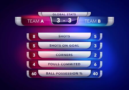 Vector Illustration Scoreboard Broadcast Graphic And Lower Thirds Stats Template For Sport 向量圖像