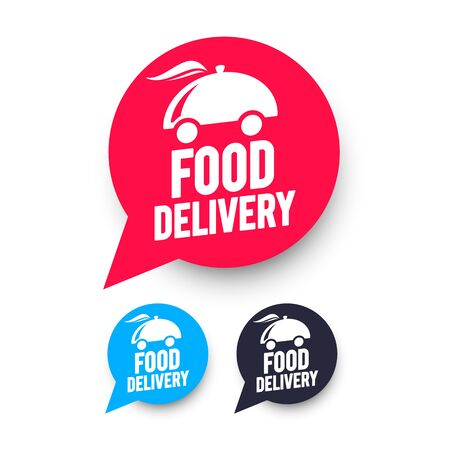 Vector illustration of free food delivery speech bubble. Web icons set. 向量圖像