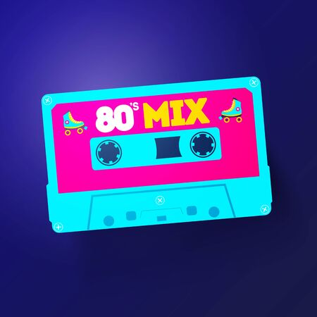 Vector Neon Cassette With Retro Label, Vintage 80s Revival Mix Tape Design
