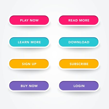 Set of modern buttons with different colors. Vector web element.