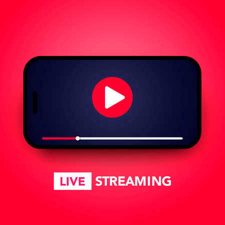Live stream concept with play button on smartphone screen for online broadcast, streaming service
