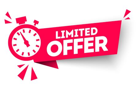 Modern red vector banner ribbon limited offer with stop watch. Vettoriali