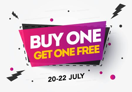 Vector illustration Buy 1 Get 1 Free, sale banner, discount tag design template, app icon. Vetores