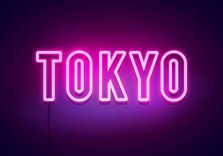 Tokyo neon sign. Bright light signboard. Vector banner. Vector Illustration