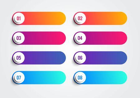Puntos de viñeta con números del 1 al 8 en cuadros de texto coloridos. Elemento web de vector