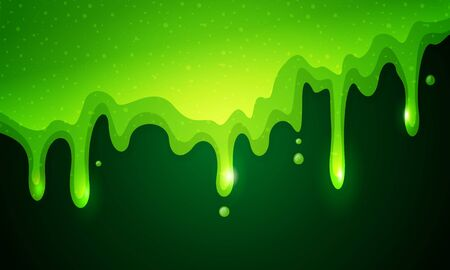 Vector illustration of dribble slime. Flowing green sticky liquid on dark background. 向量圖像