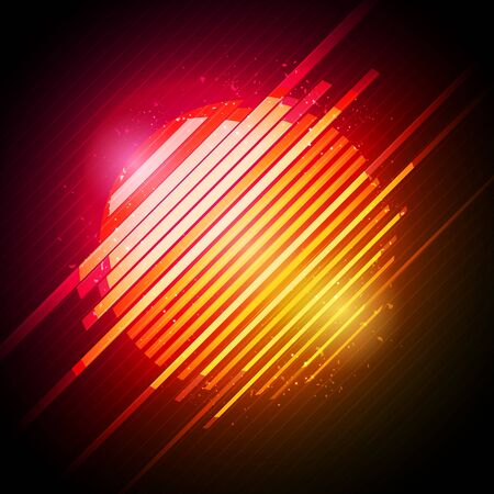 Vector illustration abstract 80s retro neon glowing sun with glitch effect.