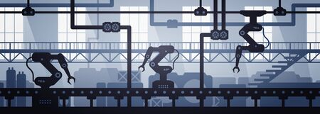 Vector illustration of seamless factory line manufacturing industrial interior background. Silhouette of industry 4.0 zone template. 向量圖像