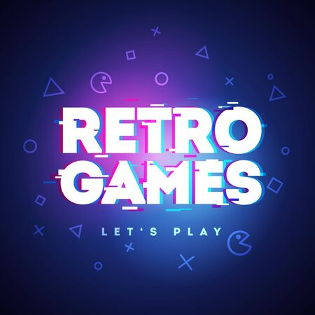 Vector Illustration Retro Games Neon Sign.Game  With Glitch Effect. 向量圖像