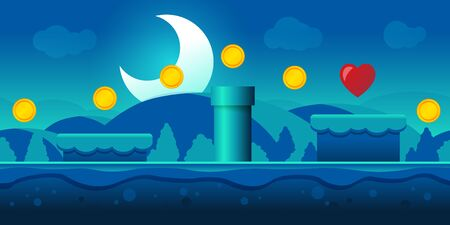 Vector Illustration Seamless Gaming Scene Background. Landscape By Night For Game or Application.