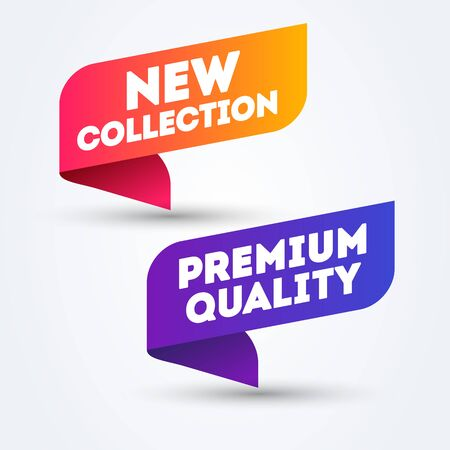 Vector Illustration Colorful Label New Collection And Premium Quality. Web banner element.