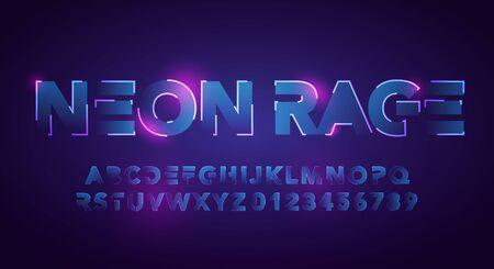 Vector Illustration Modern And Futuristic Neon Alphabet Font. Urban Style Technology Typography