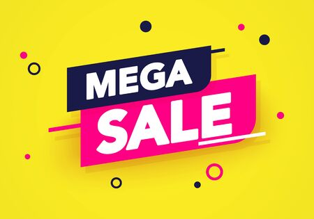 Vector illustration mega sale banner. Colorful Label And Sticker Design. 向量圖像