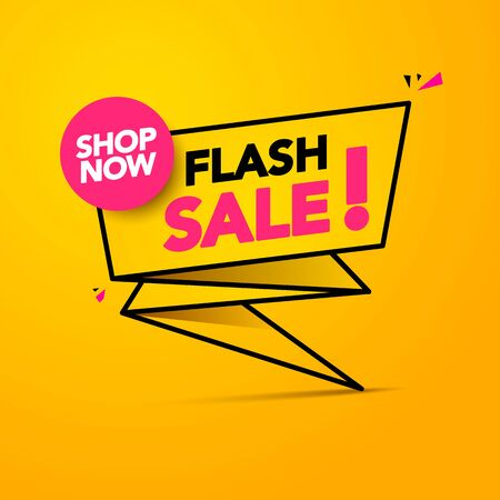 Vector illustration Flash Sale, Shop Now Lighting Banner Design