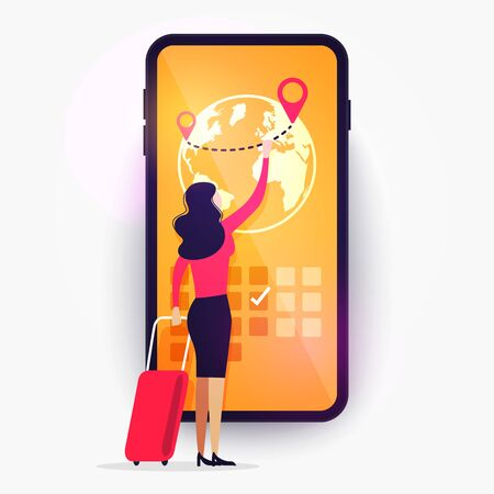 Vector illustration online booking service app.Woman with luggage book travel on the smartphone.