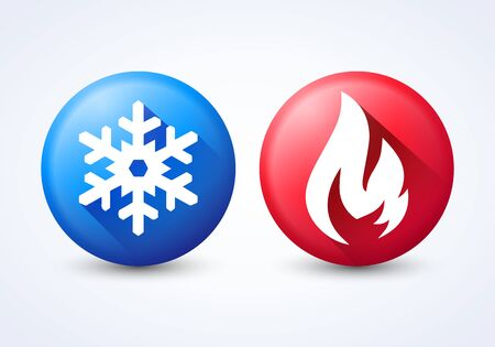 Vector illustration modern 3D hot and cold icon set with flame and snowflake Stock Illustratie