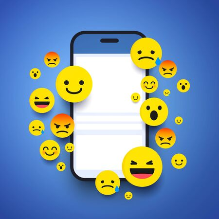 Vector Illustration Various Smiling Happy Emoticons in Front of a Smartphone Screen