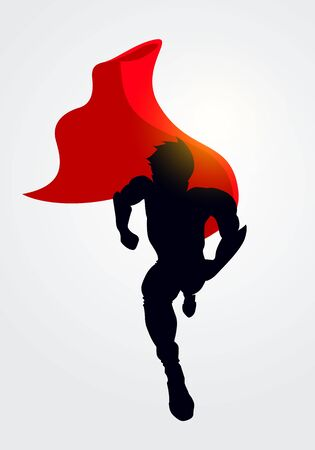 Vector Illustration Superhero Silhouette With Cape Running Forward