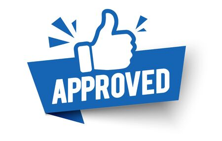 Vector illustration approved label flag with thumbs up icon.