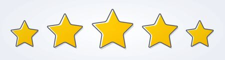 Vector illustration five stars customer product rating review flat icon for apps and websites