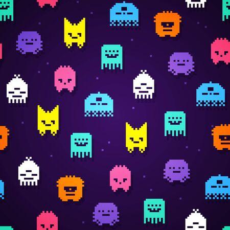 Vector illustration seamless 8bit pixel monsters pattern. Retro game monster texture.
