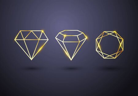 Vector Illustration Abstract Set Of Luxury Gold Diamond Outlined Shape Template.