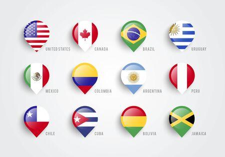 Vector illustration of map pointers with flag of america Illusztráció