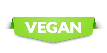Vector illustration of vegan label and tag banner. Corner icon element.
