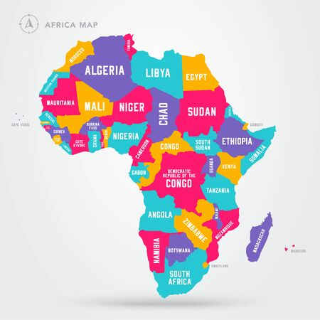 Vector Illustration Africa Regions Map With Single African Countries. 向量圖像