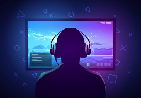 Vector Illustration Young Gamer Sit In Front Of A Screen And Playing Video Game. Wearing headphone.