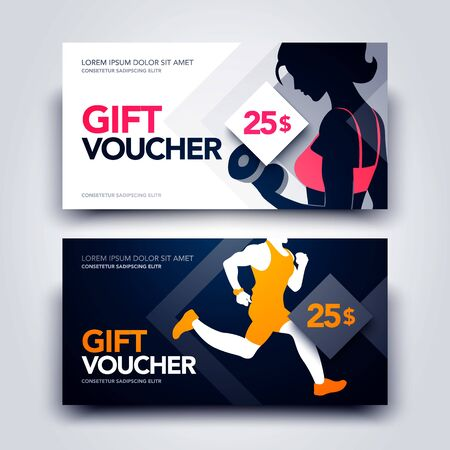 Vector Illustration Set Of Gym And Sport Gift Voucher Template With Women And Runner