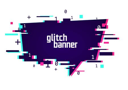 Vector illustration distorted glitch style promotion banner. Futuristic Cyber Effect Speech Bubble.
