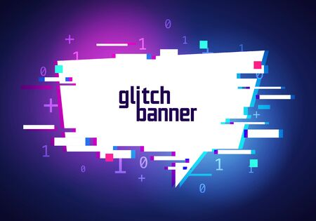 Vector illustration distorted glitch style promotion banner. Futuristic Cyber Effect Speech Bubble. Banque d'images - 138469504