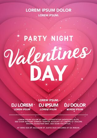 Vector illustration valentines day party night poster. Modern Background With Heart Shape. Reklamní fotografie - 138469087