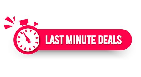 Vector illustration last minute deals label with stop watch. Modern web banner element Ilustrace