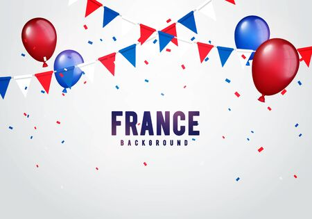Vector illustration france celebration background with banner, confetti and balloons in french colors
