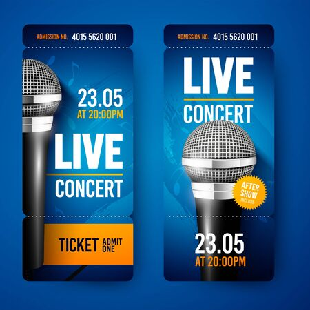Vector Illustration Set Of Ticket For Concert With Microphone Ilustração