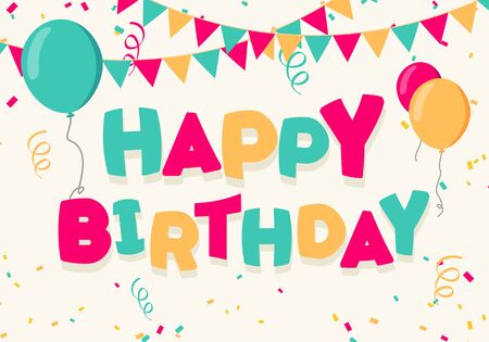 Vector Illustration Happy Birthday Celebration Background For Greeting Cards With Balloons, Banner And Confetti Stock fotó - 138036888