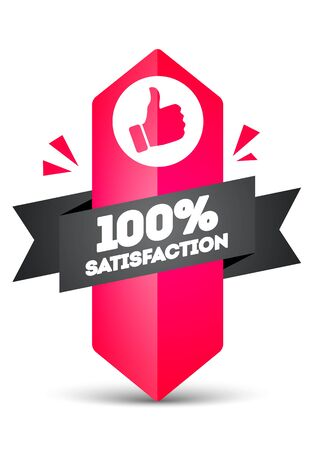 Vector illustration 100 percent satisfaction label. Modern Web Banner Element With Ribbon And Thumbs Up Icon. Ilustração