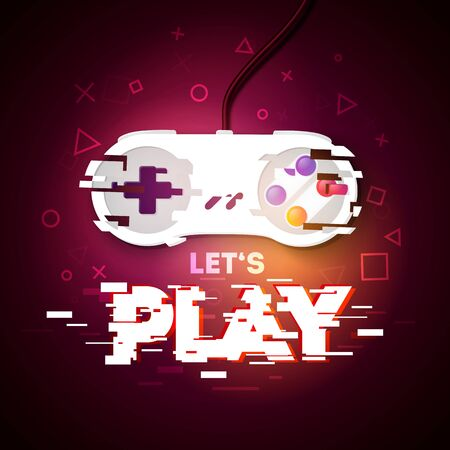Vector illustration Let's Play neon sign. Game pad with glitch effect.