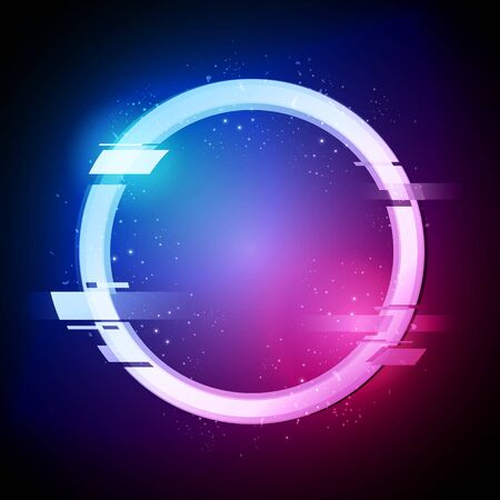 Vector illustration glitched circle in retro neon style. Modern Distorted Glitch Ring Design.