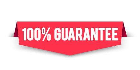 Vector illustration 100 percent guarantee label. Modern web corner banner element