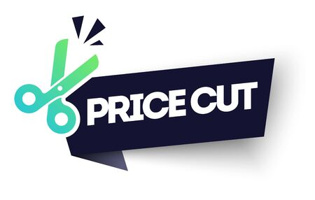 Vector illustration price cut label. Modern Web Banner Element With Scissor