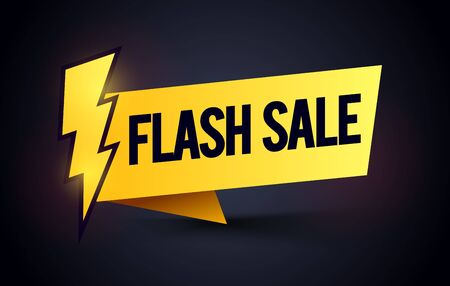 Vector illustration of flash sale label. Modern Promo Banner Element With Bolt.