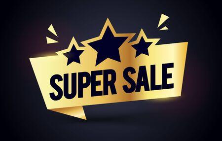 Vector illustration super sale premium label. Golden Web Banner Element With Stars